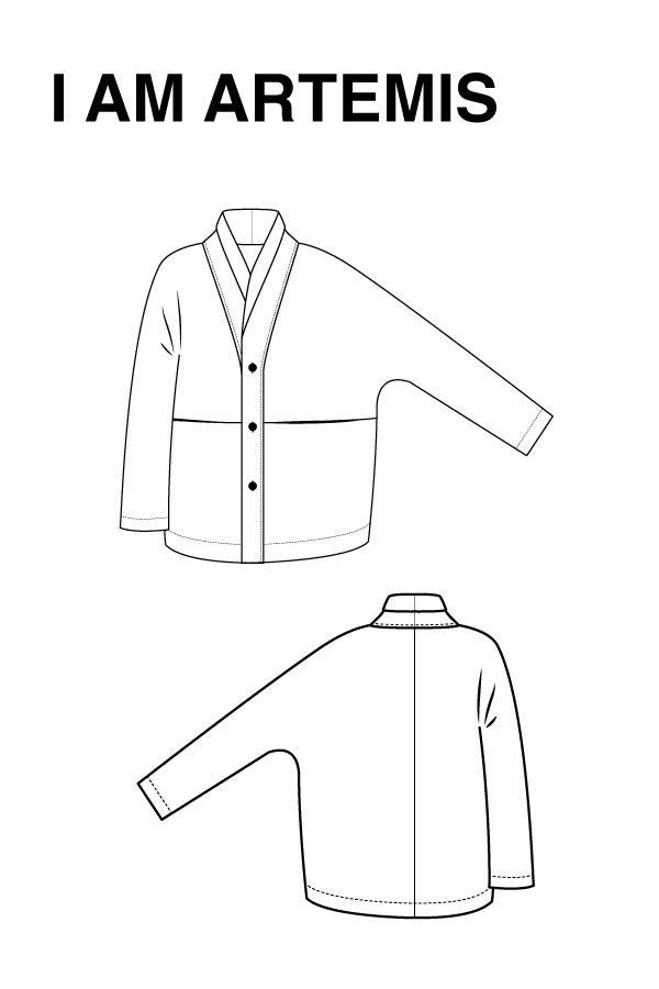 I AM Patterns - Women sewing pattern - Artemis jacket - technical drawing