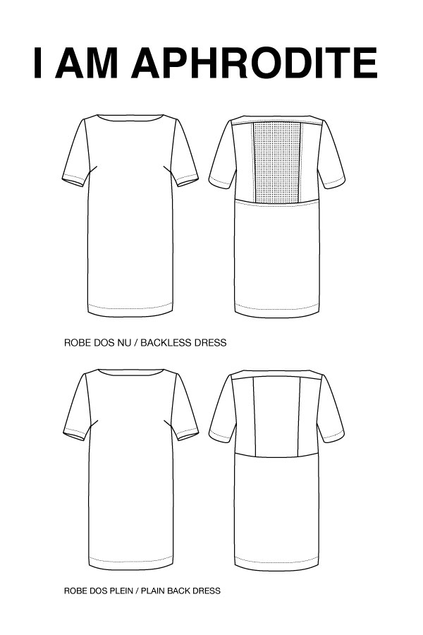 I_AM_Patterns_sewing_pattern_ladies_dress_Aphrodite_technical_drawing