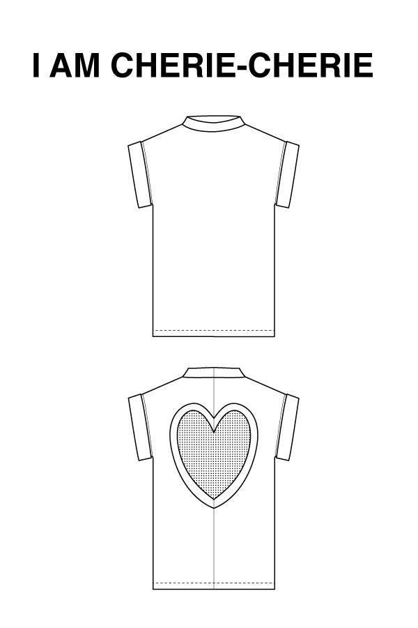 I AM Patterns Cherie Cherie T Shirt Coeur Dos Dessin Technique