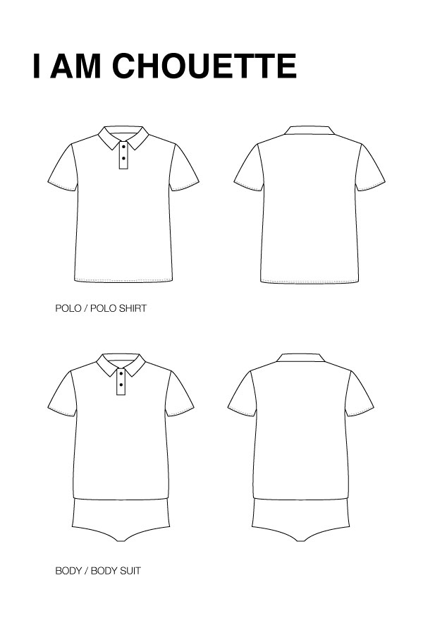 I AM Patterns - Sewing pattern - Chouette Polo Body - technical drawing