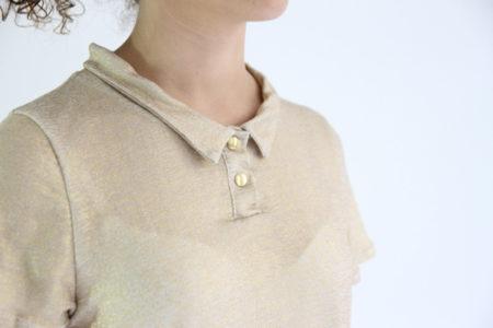 I AM Patterns Chouette I AM Patterns Patron Couture Femmes Haut Polo Doree Detail Col