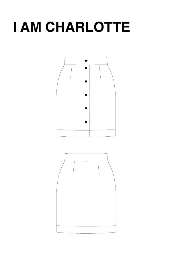 I AM Patterns - Sewing pattern Charlotte skirt - technical drawing