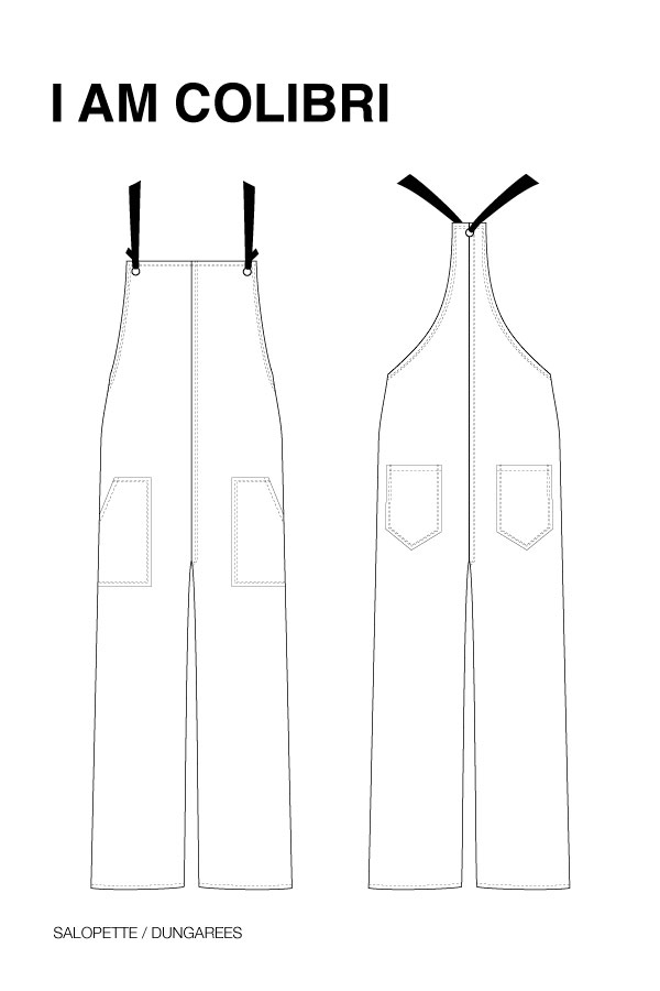 I AM Patterns - Sewing pattern Colibri dungarees women - technical drawing