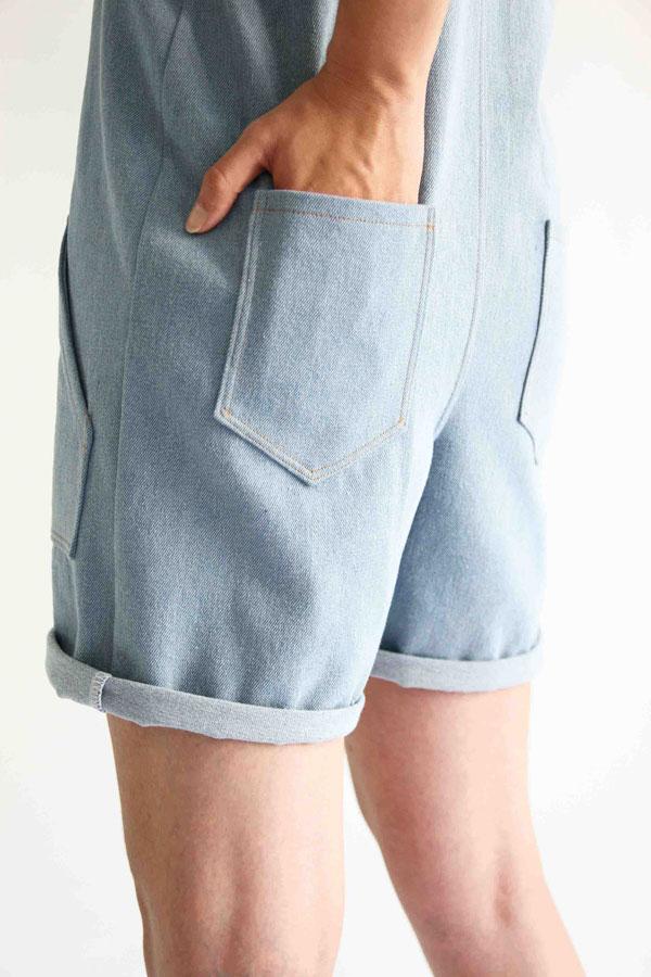 I AM Patterns Colibri I AM Patterns Patron Couture Femmes Salopette Colibri Short Detail Poche DoS