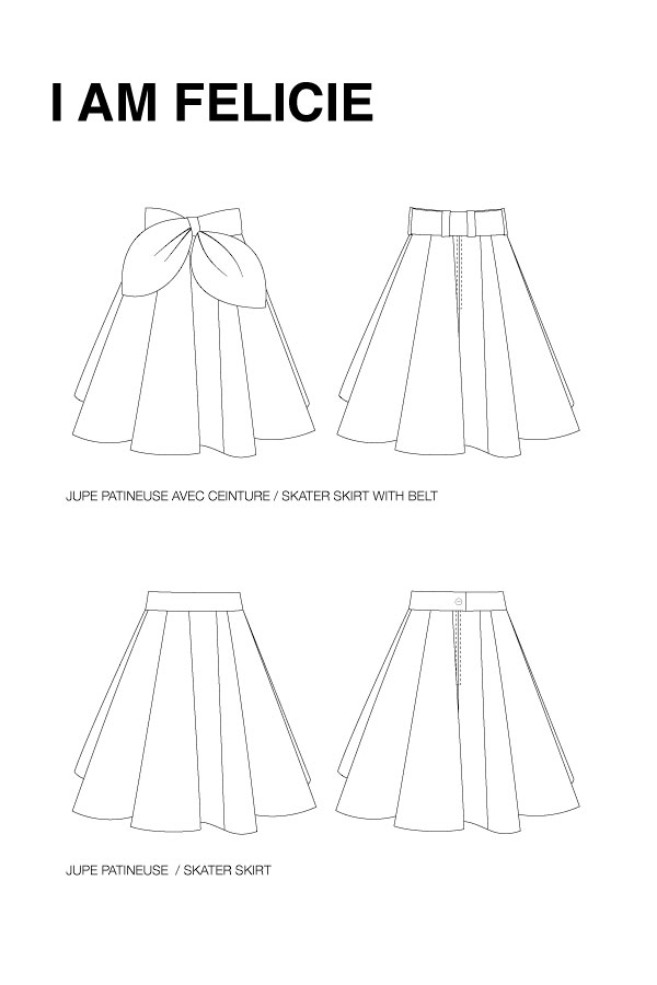 I AM Patterns - Sewing pattern Felicie skater skirt - technical drawing