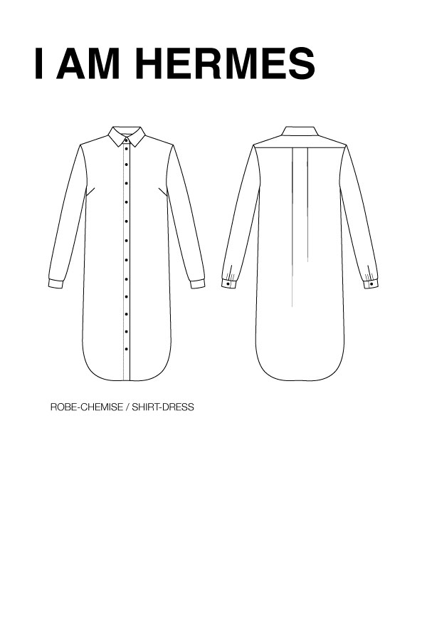 I AM Patterns Sewing Pattern Hermes Shirt Tunic Dress Technical drawing 2