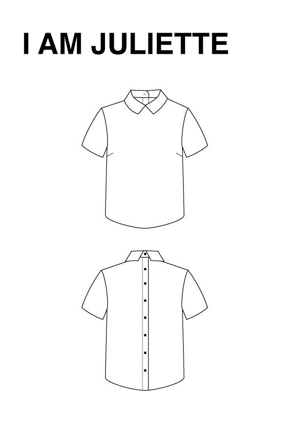 I AM Patterns - Sewing pattern - Juliette shirt - Technical drawing