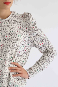 I AM Patterns Lion Sweat Shirt Manches Gigot detail manche