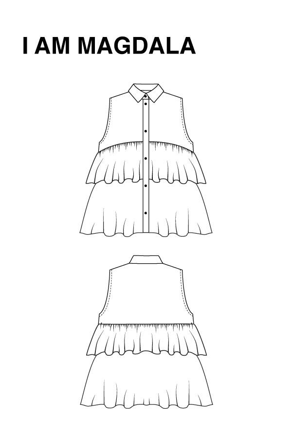 I AM Patterns - Sewing pattern - Ruffles top Magdala - technical drawing