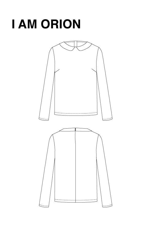 I AM Patterns - Sewing pattern Orion shirt dress - technical drawing