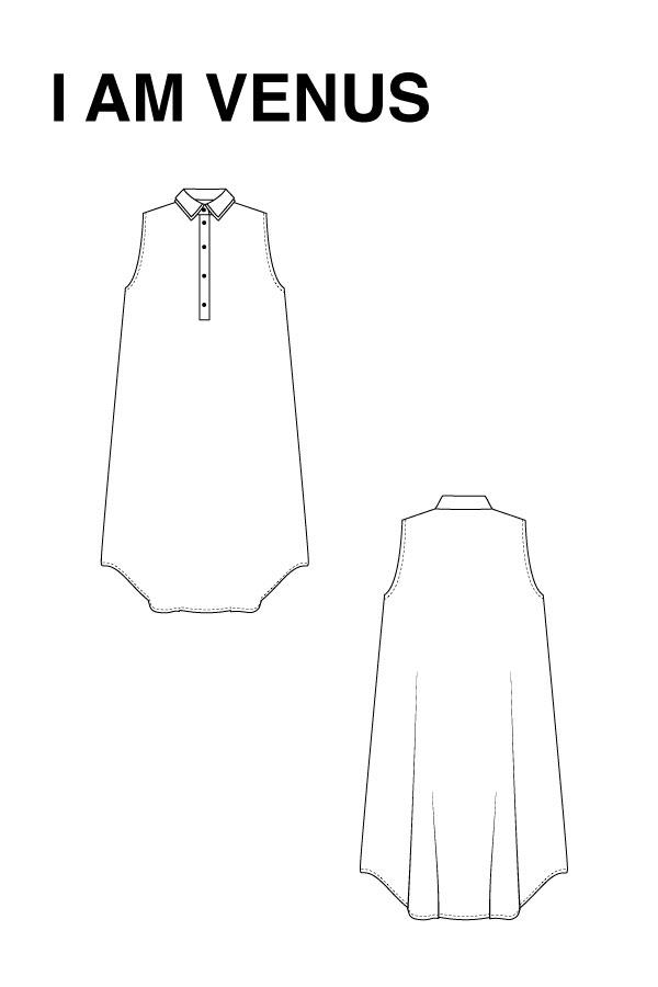 I AM Patterns - Sewing pattern Venus shirt dress - technical drawing