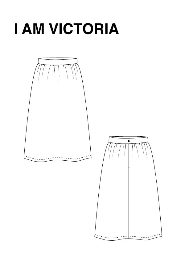 I AM Patterns - Sewing pattern Victoria skirt - technical drawing