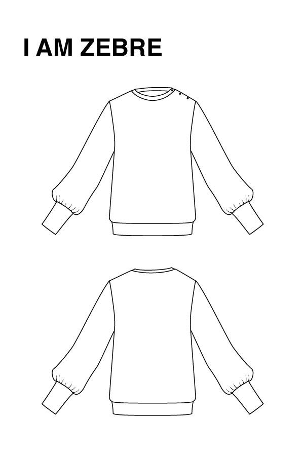 I AM Patterns Zebre Sweat Shirt Dessin Technique