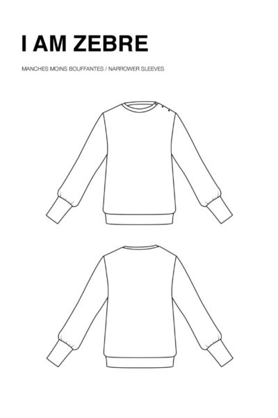 I AM Patterns - Sewing pattern Zebre free extension narrower sleeves - technical drawing
