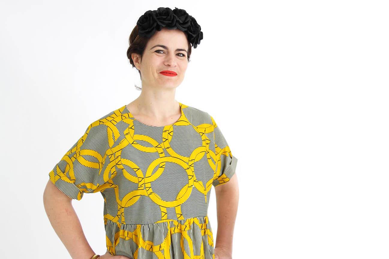 I AM Patterns - patron de couture robe Cassiopée variante manches courtes