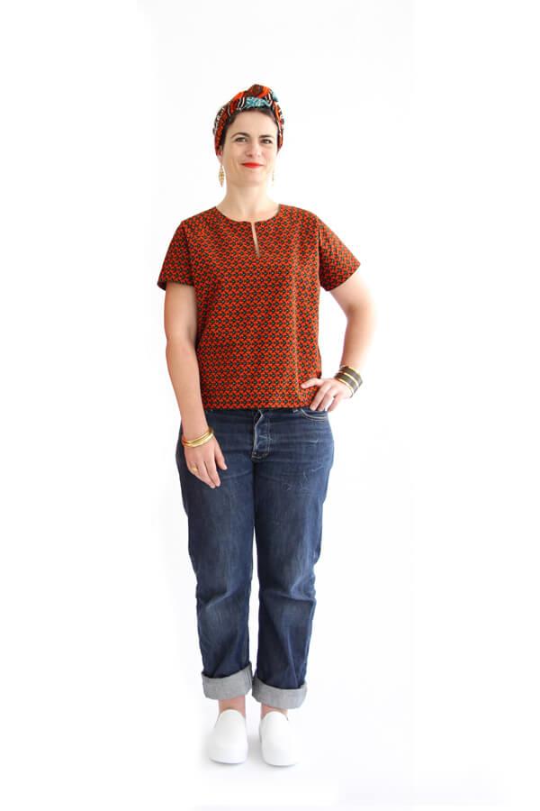 I AM Patterns - patron couture blouse robe Jain rouge devant