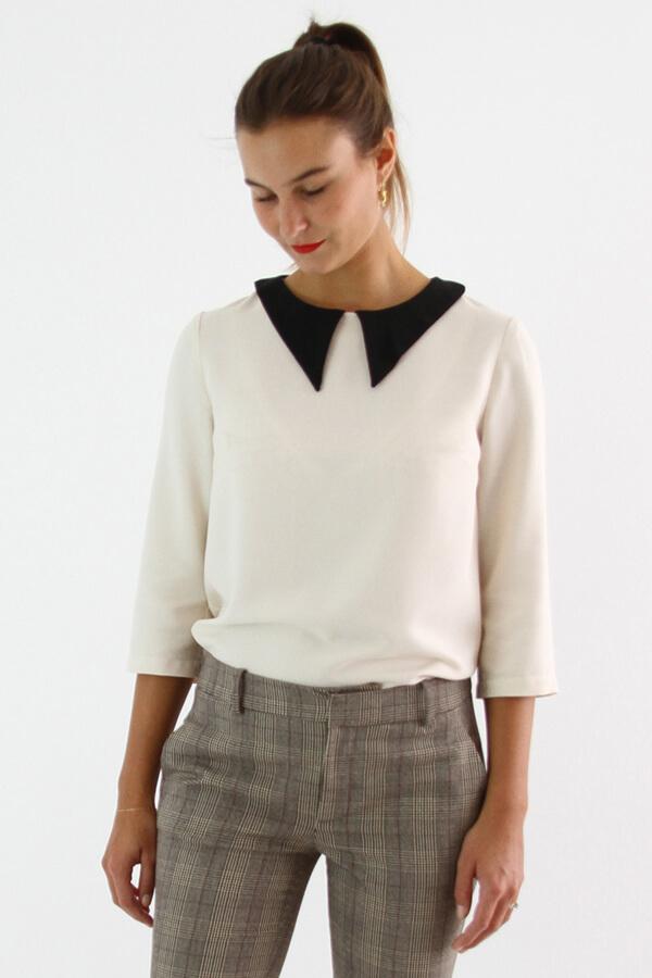 I AM Patterns - patron de couture chemisier Luna patte de boutonnage dos vue devant zoom