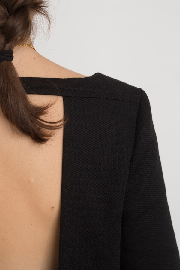 Detail of I AM Aphrodite - sewing pattern backless black dress