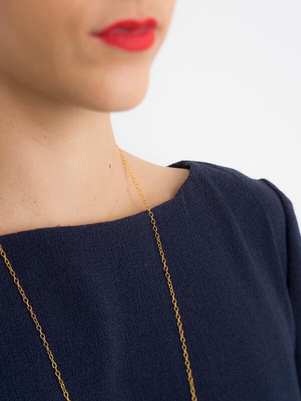 Detail of I AM Aphrodite - sewing pattern plain back blue dress neckline