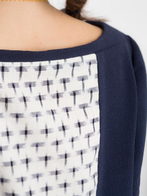 Detail of I AM Aphrodite - sewing pattern plain back blue dress