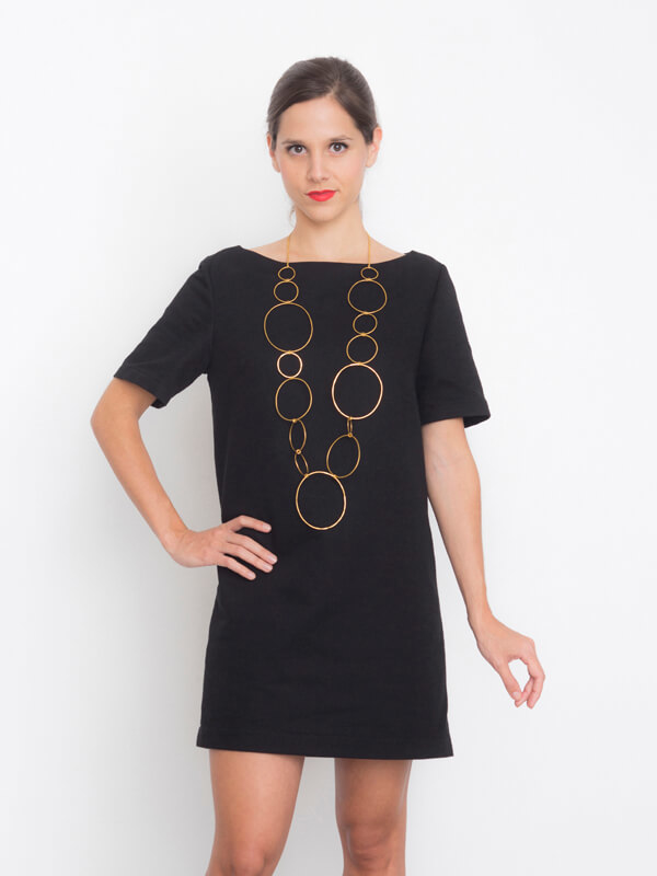 Front view of I AM Aphrodite - sewing pattern black backless dress