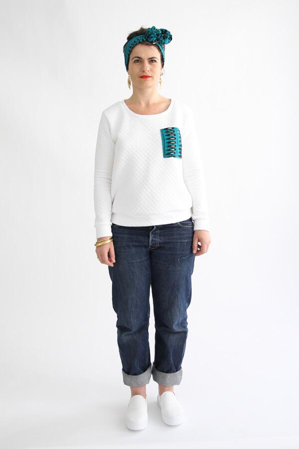I AM Apollon sweatshirt blanc avec poche plaquée