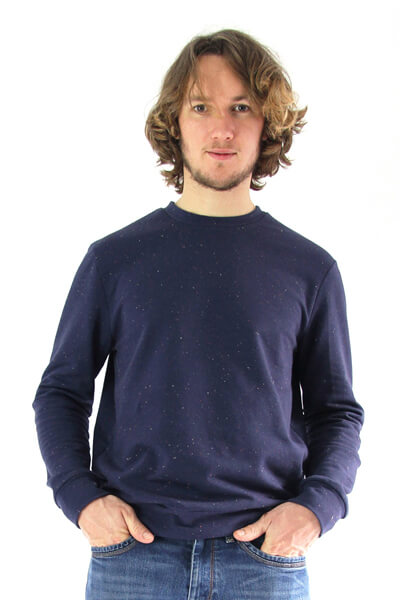 I AM Patterns sewing pattern Apollon for men blue sweatshirt front view zoom