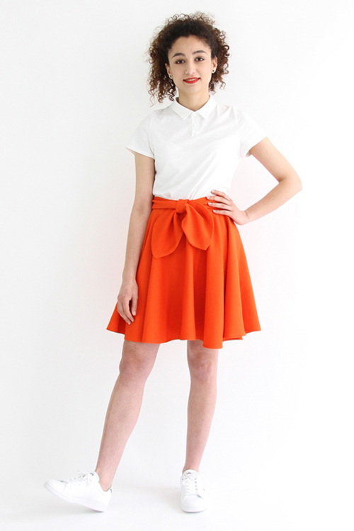 I AM Patterns - Sewing pattern Felicie orange skater skirt - front