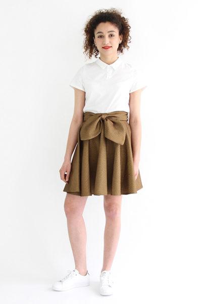 I AM Patterns - Sewing pattern Felicie gold skater skirt - front