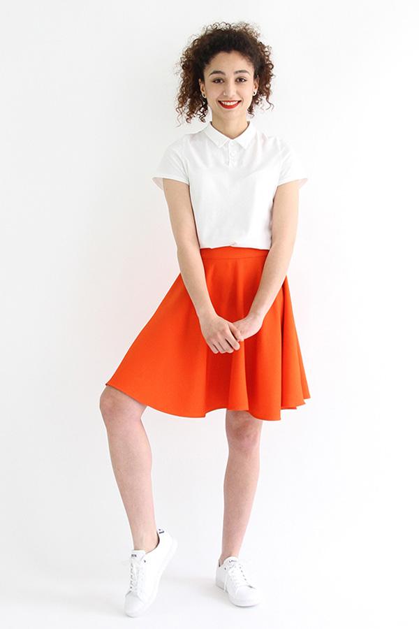 I AM Patterns - Sewing pattern Felicie orange skater skirt - front