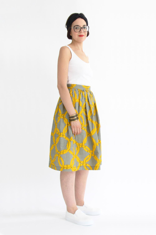 I AM Patterns sewing pattern gathered skirt Hestia long wax from side