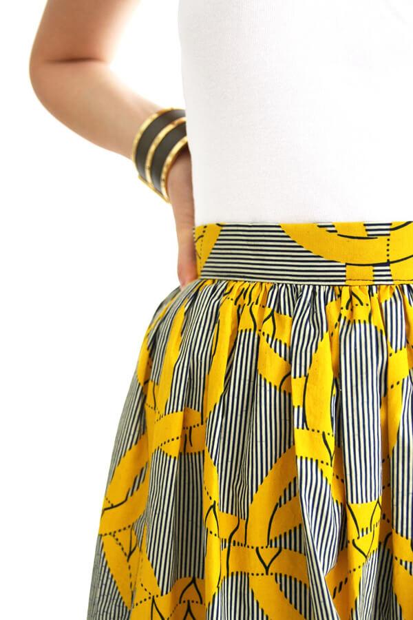 I AM Patterns - Patron couture Hestia jupe plissée simple en wax detail de la ceinture
