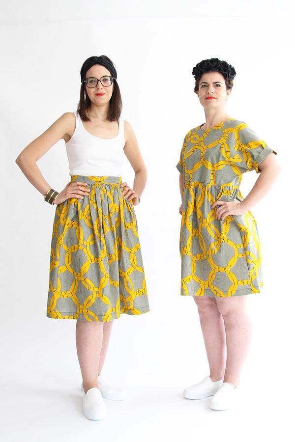 I AM Patterns - Patron couture Hestia jupe plissée simple en wax devant avec Cassiopée