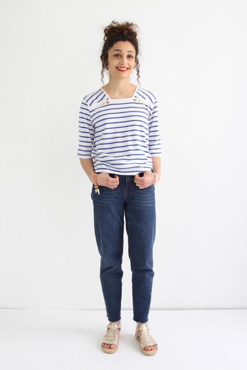 I AM PatI AM Patterns - Sewing pattern Osiris sailor shirt - frontterns - patron de couture - marnière T-Shirt robe Osiris - devant