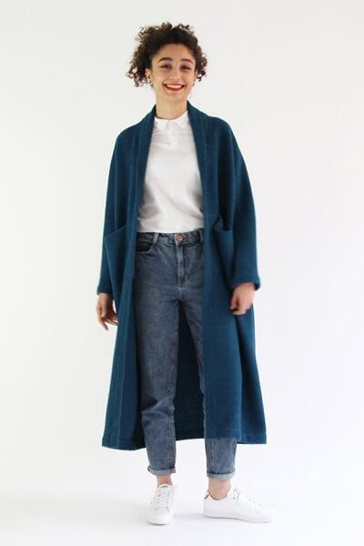 I AM Patterns - patron couture veste Artemis variante manteau long vue devant