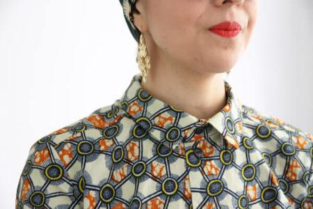 I AM Patterns sewing pattern wax fabric dress shirt I AM Hermes detail