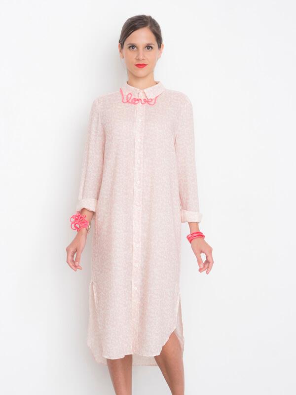 I AM Hermes patron de couture chemise femmes robe rose devant