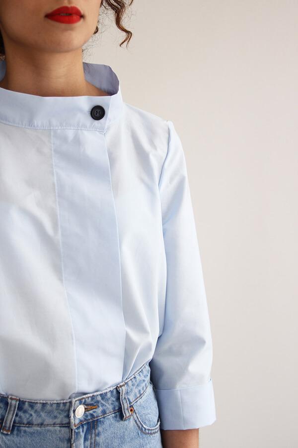 I AM Patterns - patron de couture chemise robe Libellule - bleue detail col et patte boutonnage