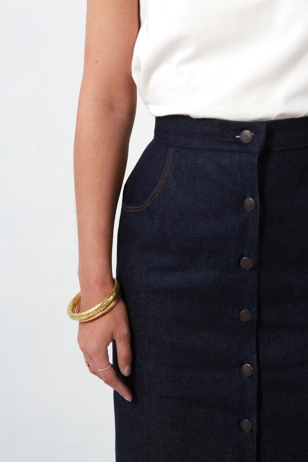 I AM Patterns patron de couture jupe droite en jean Romeo devant zoom