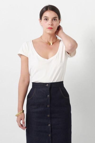 I AM Patterns patron de couture jupe droite en jean Romeo devant