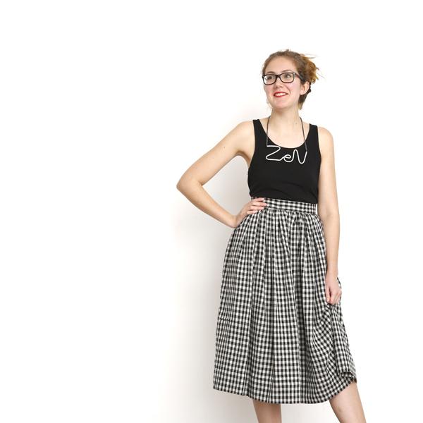 I AM Patterns sewing pattern gathered skirt Hestia long checkered fabric