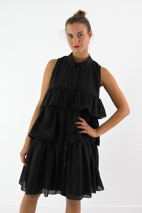 I AM Patterns - Sewing pattern Magdala Ruffles dress - front zoom