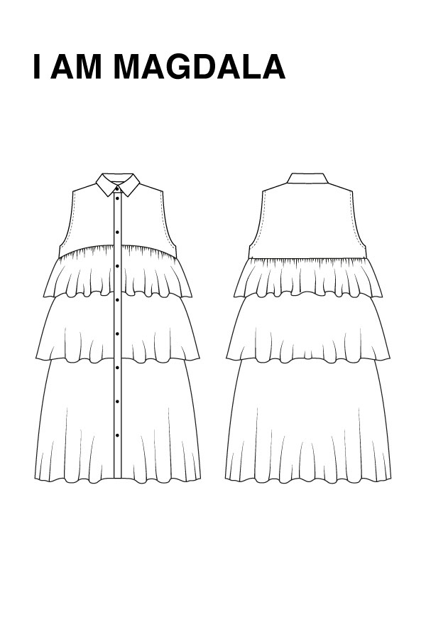 I AM Patterns - Sewing pattern Magdala Ruffles dress - technical drawing
