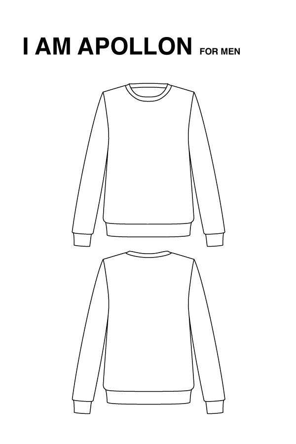 I AM Patterns Patron Couture Hommes Sweatshirt dessin technique