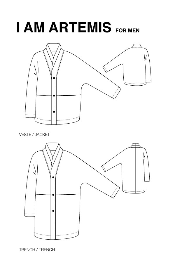 I AM Patterns - Men sewing pattern - Artemis trench jacket - technical drawing