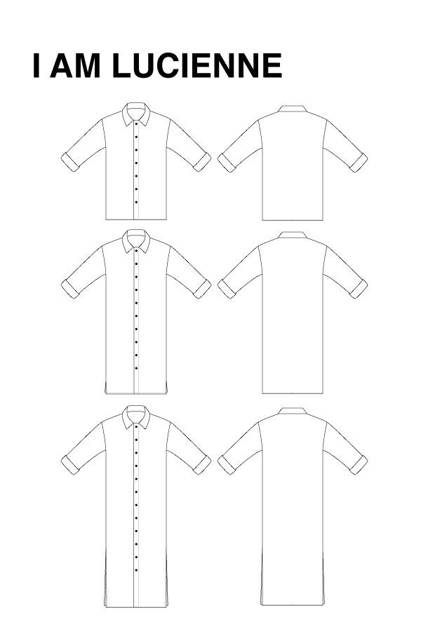 I AM Patterns - Sewing pattern - Lucienne boxy shirt dress tunic - technical drawing