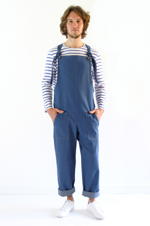 I AM Patterns - men sewing pattern - Colibri dungarees front