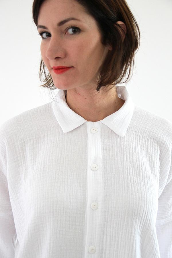 I AM Patterns - Sewing pattern - Lucienne boxy shirt dress tunic - detail shirt collar