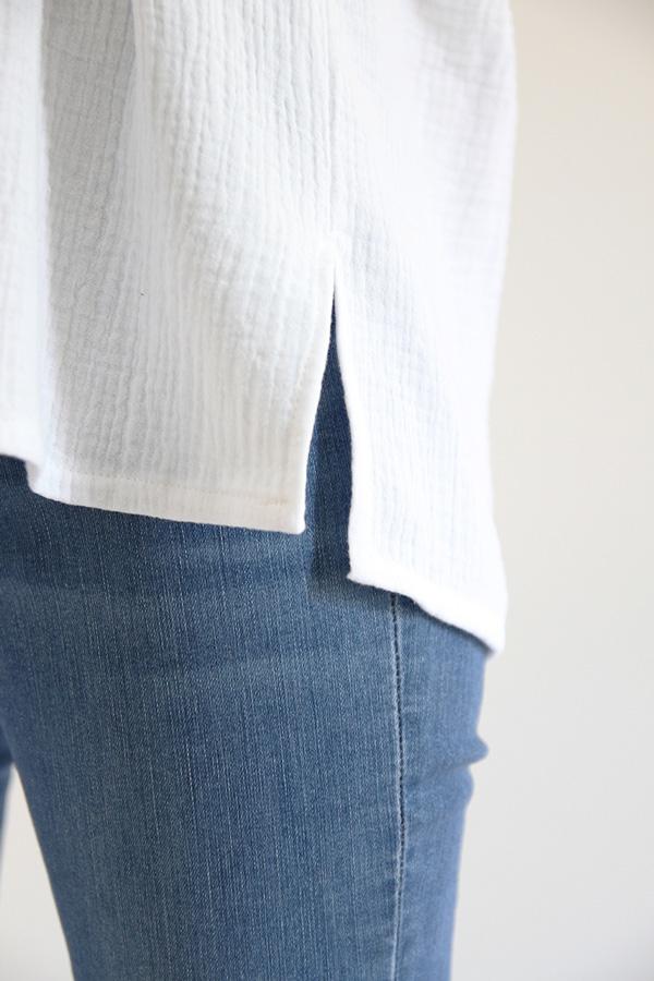 I AM Patterns - Sewing pattern - Lucienne boxy shirt dress tunic - detail shirt slit
