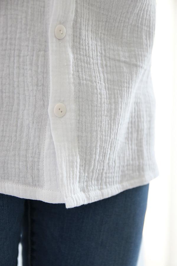I AM Patterns - Sewing pattern - Lucienne boxy shirt dress tunic - detail shirt buttons hem